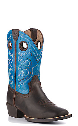 Ariat Kids Crossfire Blue and Brown Square Toe Western Boot