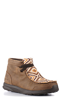 Ariat Kids Brown Bomber and Tan Aztec Spitfire Moc Casual Shoe