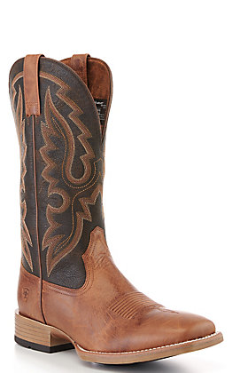 Ariat Men's Barton Ultra Brown and Black Wide Square Toe Western Boot