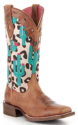 Ariat Women's Leopard Cactus Print Western Square Toe Boot - Cavender's Exclusive