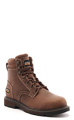 Ariat Men's Groundbreaker Brown Round Steel Toe Lace Up Work Boot