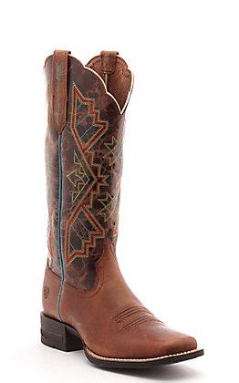 Ariat Women's Jackpot Shock Shield Russet Rebel Brown Wide Square Toe Western Boot