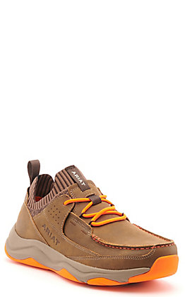 Ariat Men's Country Mile Brown Bomber with Orange Moc Toe Casual Shoes
