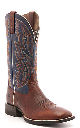 Ariat Men's Dynamic Brown Patina and Blue Wide Square Toe Western Boots