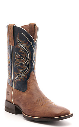 Ariat Men's Holder Spruce Brown and Navy Shock Shield Wide Square Toe Western Boot