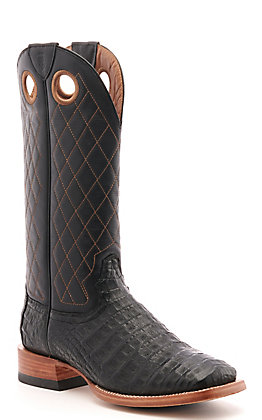 Ariat Men's Winner's Circle Black Caiman Belly and Cross-Hatch Wide Square Toe Western Boots