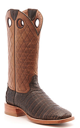 Ariat Men's Winner's Circle Chocolate Caiman Belly with Cross-Hatch Top Wide Square Toe Western Boots