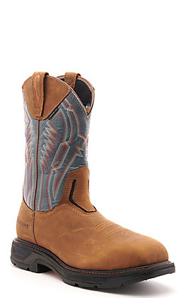 Ariat Men's WorkHog XT Aged Bark Brown and Steel Blue Wide Square Composite Toe Work Boot
