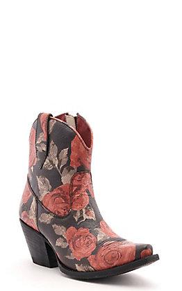 Ariat Women's Circuit Cruz Black Vintage Rose Snip Toe Western Booties