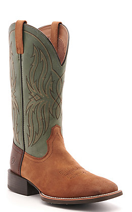 Ariat Men's Sport Rustler Dark Peanut Brown and Baltic Blue-Green Wide Square Toe Western Boot