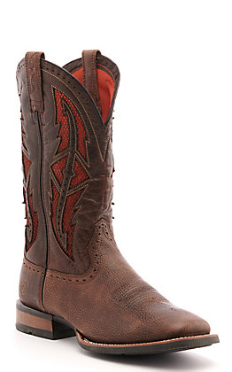 Ariat Men's Cowhand Toffee Crunch Brown and Red VentTEK Wide Square Toe Western Boot
