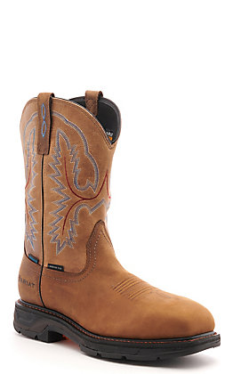 Ariat Men's WorkHog XT Distressed Brown Waterproof Wide Square Composite Toe Work Boot