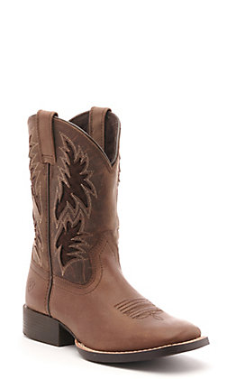 Ariat Kids Cowboy VentTEK Brown Wide Square Toe Western Boot