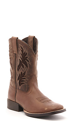 Ariat Youth Cowboy VentTEK Brown Wide Square Toe Western Boot