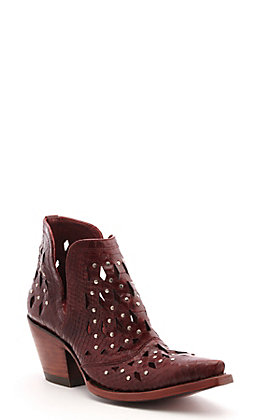 Ariat Women's Dixon Red Snake with Studs Snip Toe Western Booties