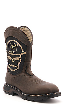 Ariat Men's WorkHog XT Dark Brown and Black Skull VentTEK Bold Carbon Toe Work Boot