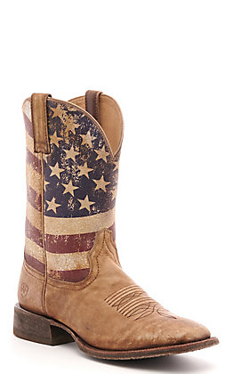 Ariat Men's Circuit Proud Distressed Brown and Flag Wide Square Toe Western Boot