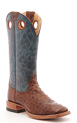 Ariat Men's Relentless Victor Rust Full Quill Ostrich and Blue Wide Square Toe Western Boot