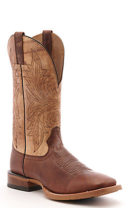 Ariat Men's Cowhand Brown and Tan Wide Square Toe Western Boot