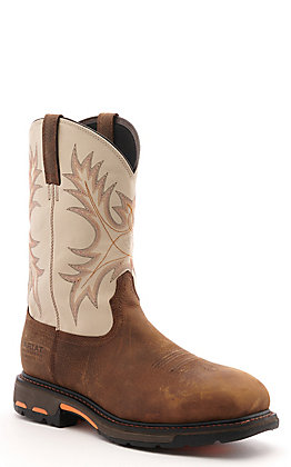 Ariat Men's WorkHog Brown and Cream Waterproof Composite Wide Square Toe Work Boot