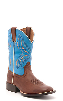 Ariat Kids' Arena Rebound Brown and Blue Wide Square Toe Western Boot
