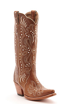 Ariat Women's Bridal Amber Brown with Pearls Snip Toe Western Boot