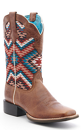 Ariat Women's Tan & Multi Aztec Western Square Toe Boots