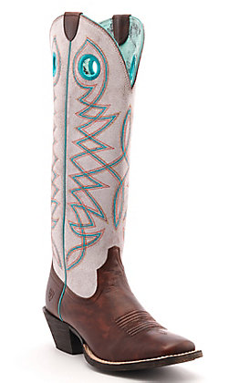 Ariat Women's Round Up Buckaroo Yukon Brown and White Wide Square Toe Western Boots