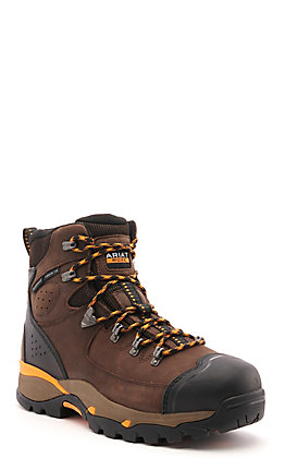 Ariat Men's Endeavor Chocolate Waterproof Round Composite Toe Lace Up Work Boot
