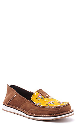 Ariat Women's Cruiser Chestnut Suede and Mustard Skull Print Casual Shoes