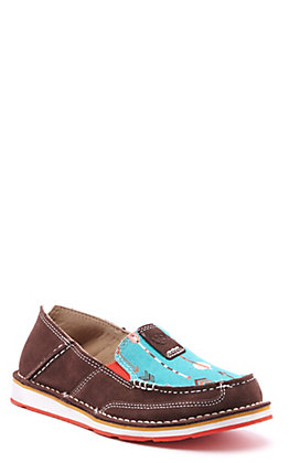 Ariat Women's Cruiser Chocolate Suede and Turquoise Arrow Print Casual Shoes