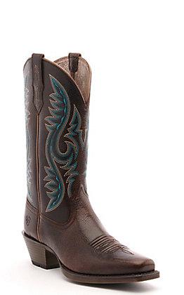 Ariat Women's Sundown Chocolate Chip Brown Square Toe Western Boot