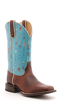 Ariat Women's Circuit Savanna Brown and Turquoise Arrows Wide Square Toe Western Boots