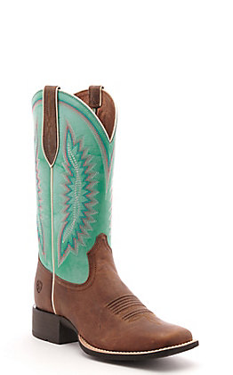 Ariat Women's Quickdraw Legacy Brown and Pool Blue Wide Square Toe Western Boot