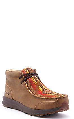 Ariat Men's Spitfire Brown Bomber and Orange Aztec Print Lace Up Casual Shoe