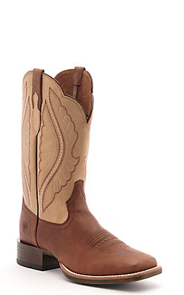 Ariat Women's PrimeTime Brown and Gold Wide Square Toe Western Boots