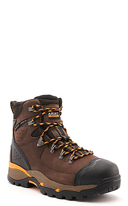 Ariat Men's Endeavor Chocolate Brown Waterproof Round Toe Lace Up Work Boot
