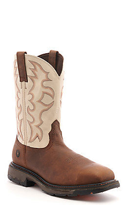 Ariat Men's WorkHog Brown and Cream Wide Square Soft Toe Work Boot