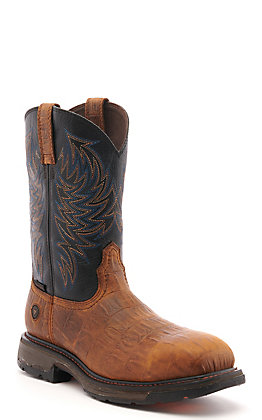 Ariat Men's WorkHog Brown Hornback Gator Print and Black Wide Square Composite Toe Work Boot