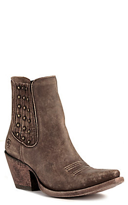 Ariat Women's Eclipse Distressed Brown with Studs Snip Toe Western Booties