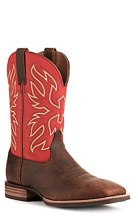 Ariat Men's Everlite Vapor Bar Top Brown and Red Wide Square Toe Western Boot