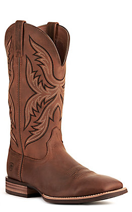 Ariat Men's Everlite Fast Time Distressed Brown Wide Square Toe Western Boot