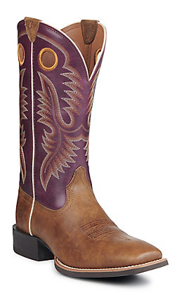 Ariat Men's Sport Teamster Valley Brown and Purple Wide Square Toe Western Boot