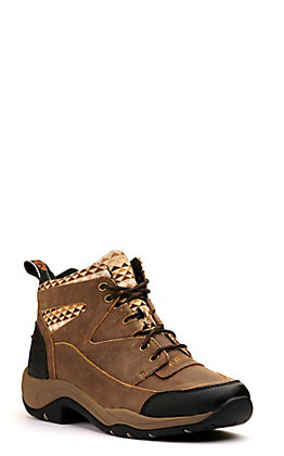 Ariat Women's Terrain Brown Bomber and Aztec Print Lace Up Round Toe Boot