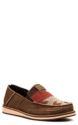 Ariat Men's Cruiser Bomber Brown and Rust Aztec Moc Toe Casual Shoe