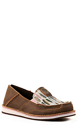 Ariat Women's Cruiser Bomber Brown and Watercolor Feather Print Casual Shoes