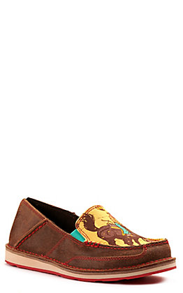 Ariat Women's Cruiser Chestnut Brown Suede and Mustard Cowboy Print Casual Shoes