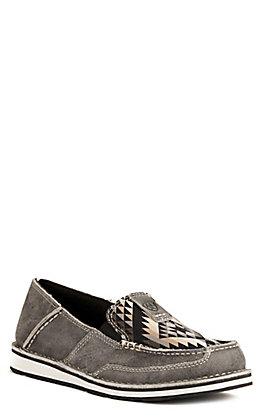 Ariat Women's Cruiser Titanium with Black Aztec Print Moc Toe Casual Shoe