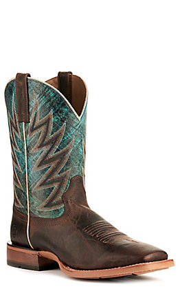 Ariat Men's Challenger Stout Brown and Atlanta Blue Wide Square Toe Boots