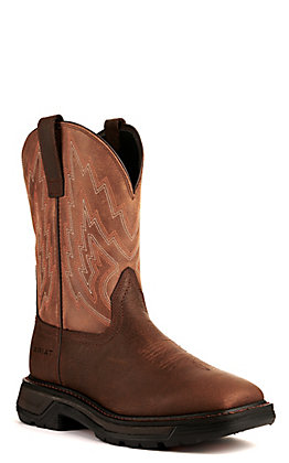 Ariat Men's Big Rig Rye Brown and Wicker Wide Square Toe Work Boot